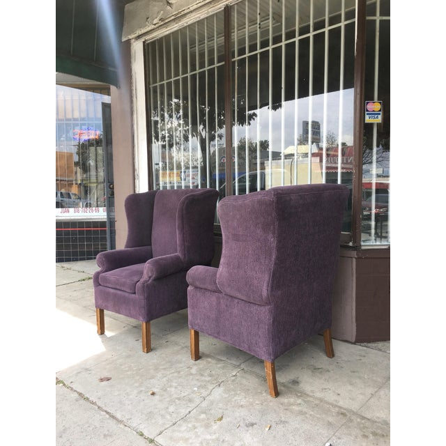1970s Vintage Wingback Chairs- A Pair For Sale In Los Angeles - Image 6 of 10