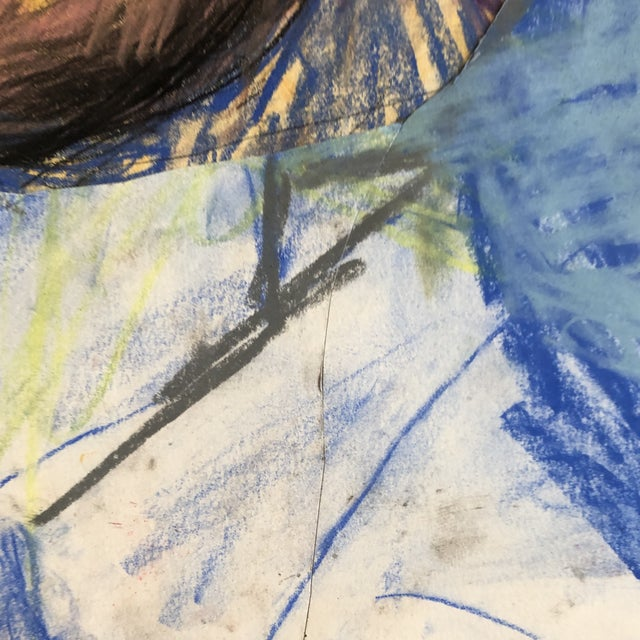 Original LargeContemporary Abstract Pastel Portrait Drawing For Sale - Image 4 of 6