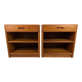 Mid-Century Danish Solid Teak Nightstands - a Pair For Sale