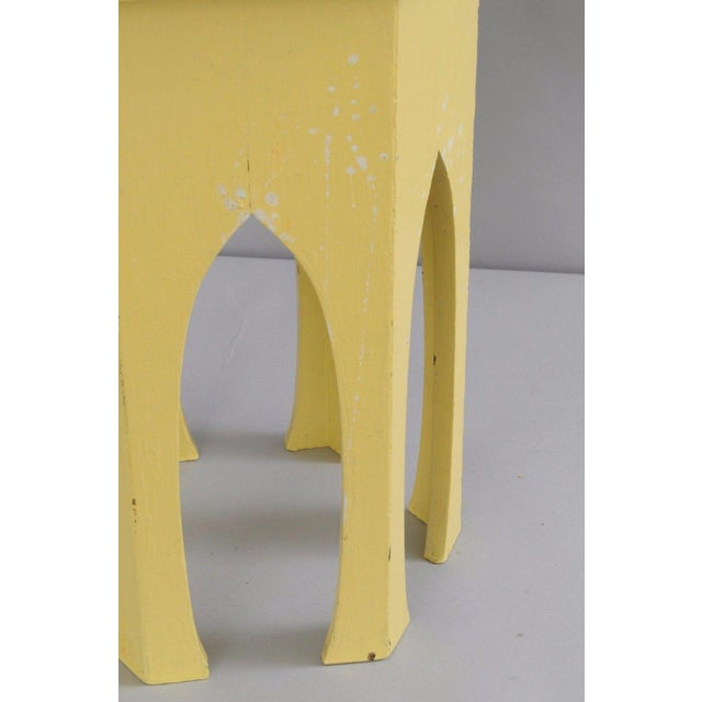Antique Primitive Rustic Moorish Style Yellow Painted Accent Side Table Arched - Image 10 of 11