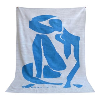 Henri Matisse - Blue Nude 4 - Inspired Silk Hand Woven Flat Weave Area - Wall Rug 4′11″ × 6′10″ For Sale