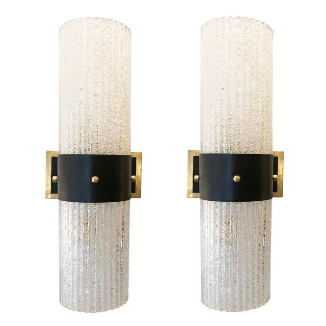 Hollywood Regency 1960s Italian Mazzega Large Sconces - a Pair For Sale - Image 3 of 6