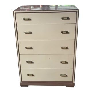 1930s Bel Geddes for Simmons Company 5-Drawer Highboy Dresser For Sale