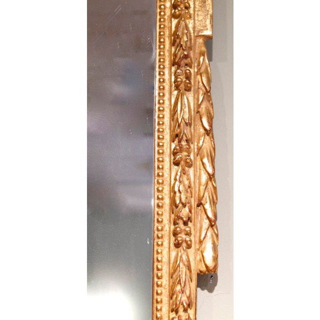 Glass Large Italian Neoclassical Gilt Wood Mirror For Sale - Image 7 of 11