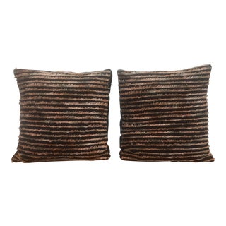 Black Striped Fringe Pillows - A Pair For Sale