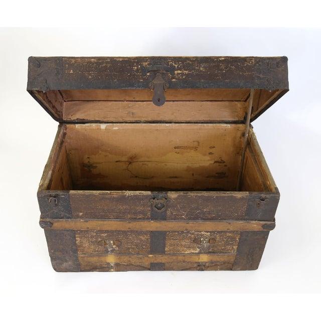 Large Antique Hardwood Steamer Trunk For Sale - Image 7 of 11