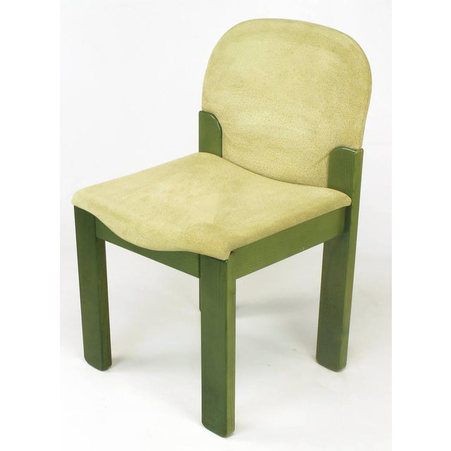 Italian Four Ernesto Radaelli for Saporiti Dining Chairs in Dyed Green Oak and Suede For Sale - Image 3 of 9