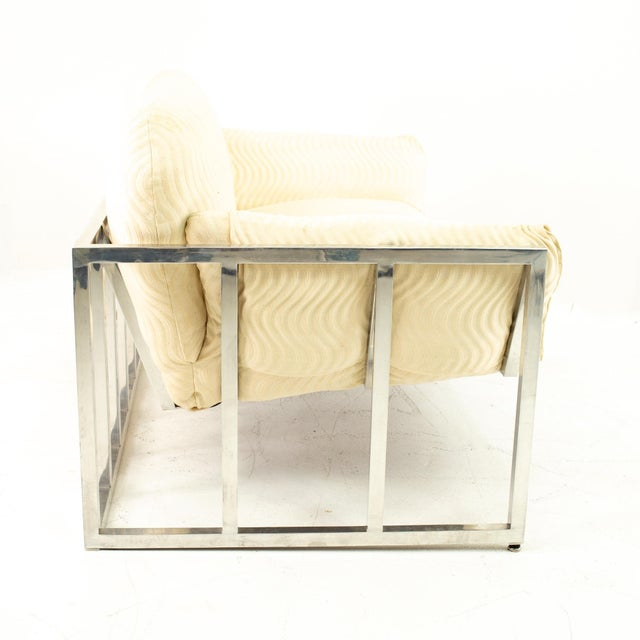Metal Milo Baughman Style Mid Century Floating Chrome Setee For Sale - Image 7 of 10