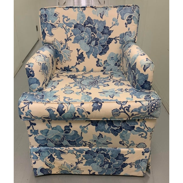 Blue Blue & Off White Upholstered Armchair For Sale - Image 8 of 8