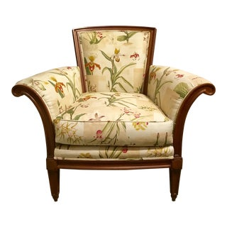 Baker Chair with Custom Botanical Fabric For Sale