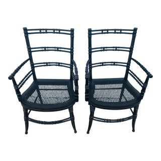 Vintage Baker Furniture Faux Bamboo Chairs - a Pair For Sale