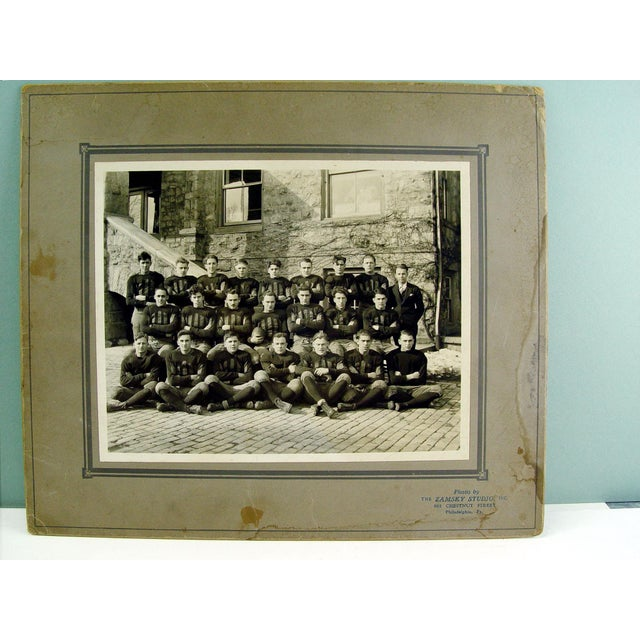 Antique circa 1915 photo of a college football team. Photo taken by Zamsky Studios, Philadelphia, Pennsylvania. Unframed....