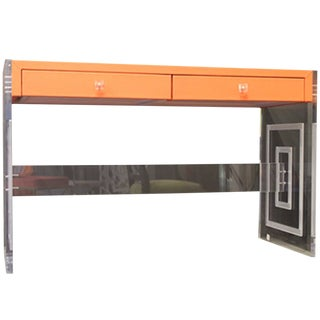 Contemporary Meredith Orange Writing Desk With Engraved Panels