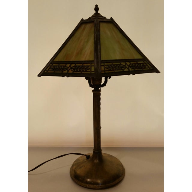 Art Nouveau Vintage Pilabrasgo 1920's Slag Glass Table Lamp For Sale - Image 3 of 8