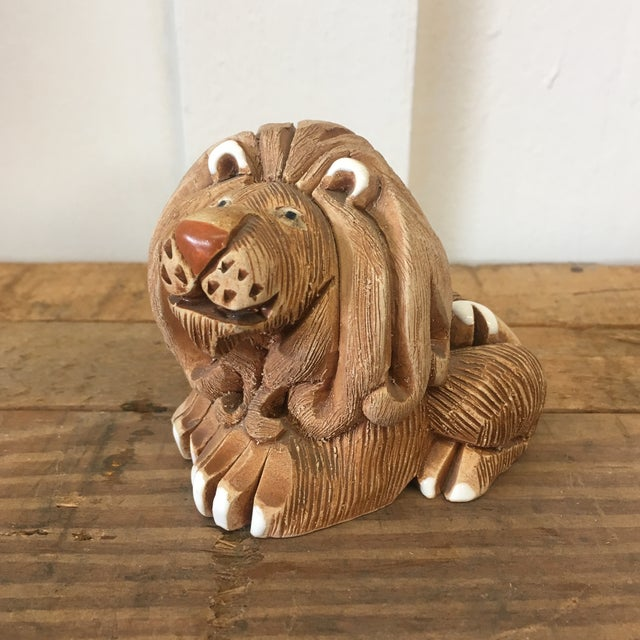 Mid-Century Clay Lion Sculpture - Image 2 of 10