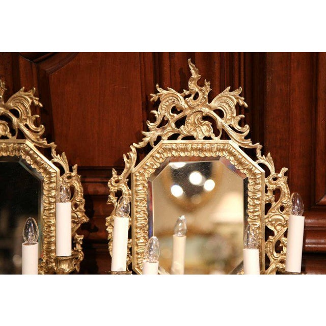 Louis XVI 19th Century French Napoleon III Bronze Sconces With Beveled Glass - A Pair For Sale - Image 3 of 6