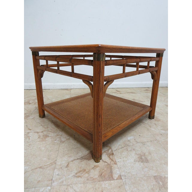 Vintage Mid-Century Campaign Faux Bamboo Carved End Table For Sale - Image 9 of 11