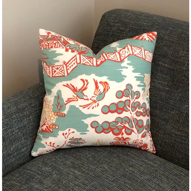 Thibaut Thibaut Luzon in Aqua and Coral Pillow Cover For Sale - Image 4 of 6