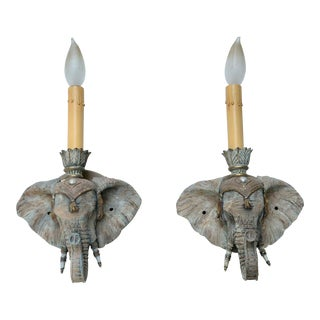 Traditional Ceramic Elephant Wall Sconces - a Pair For Sale