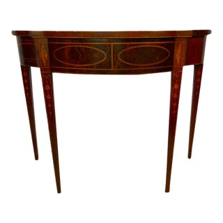 Baker Furniture Fine Serpentine Flame Mahogany and Inlaid Console Table For Sale