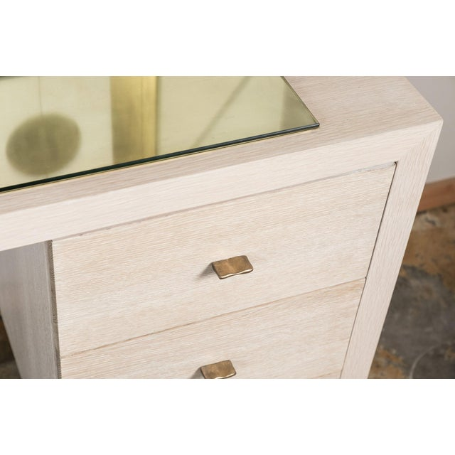 Modern Modern Desk in Bleached Oak with Brass For Sale - Image 3 of 9