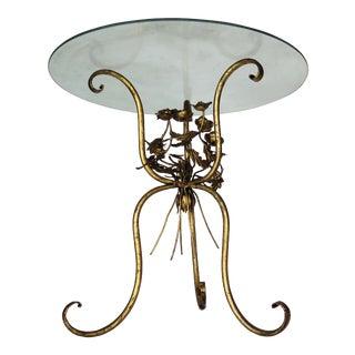 1960's Italian Style Gold Iron Side Table