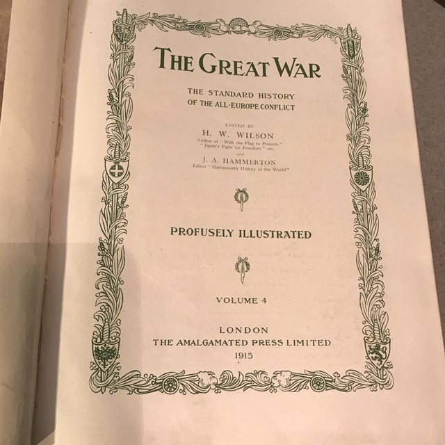 """Animal Skin Antique Red Leather """"The Great War"""" Books - Set of 6 For Sale - Image 7 of 11"""