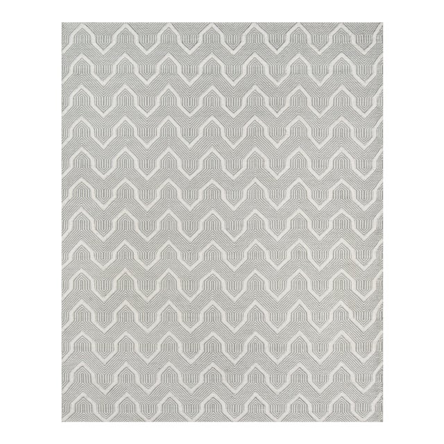Erin Gates by Momeni Langdon Prince Grey Hand Woven Wool Area Rug - 7′6″ × 9′6″ For Sale