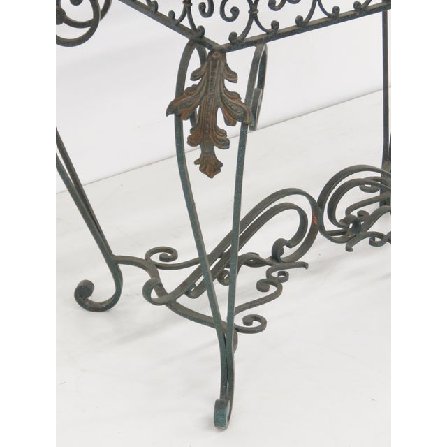 Iron & Etched Glasstop Side Table - Image 2 of 5