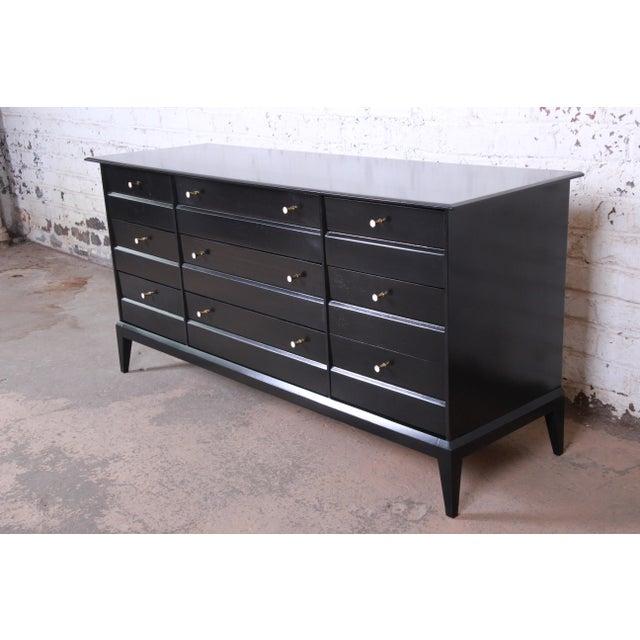 Heywood-Wakefield Paul McCobb Style Ebonized Triple Dresser or Credenza by Heywood Wakefield For Sale - Image 4 of 13