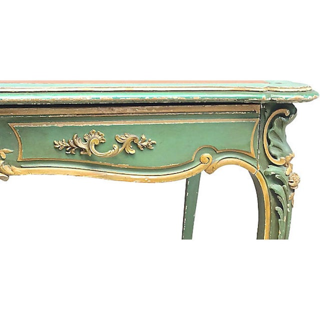 19th Century 19th Century French Carved Wood & Leather Writing Desk For Sale - Image 5 of 9