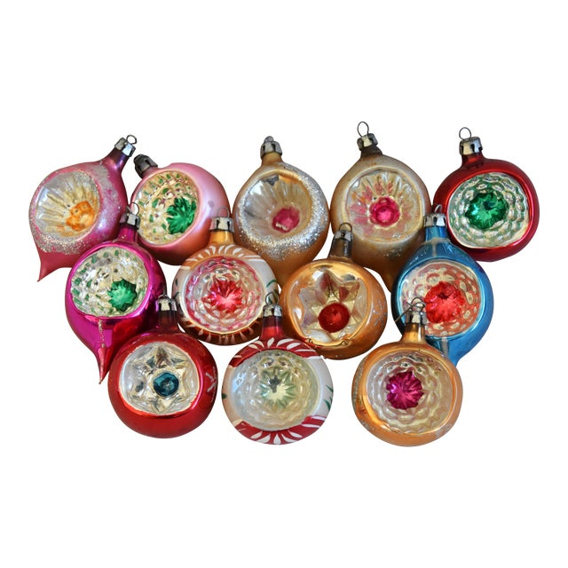 Vintage Fancy Indent Christmas Ornaments W/Box - Set of 12 For Sale