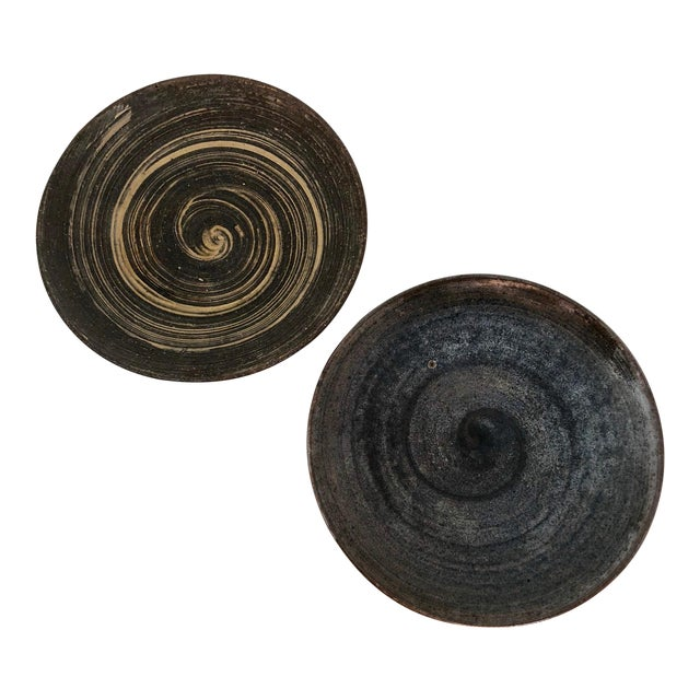 Handthrown Mid-Century Studio Pottery Plates - A Pair For Sale