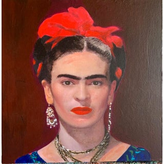 """""""Frida With a Red Bow"""" Contemporary Portrait Acrylic Painting For Sale"""