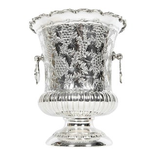 Antique Sterling Silver Wine Cooler With Handles For Sale