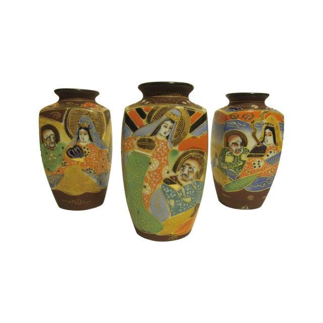 Vintage Japanese Satsuma Vases - Set of 3 - Image 1 of 10