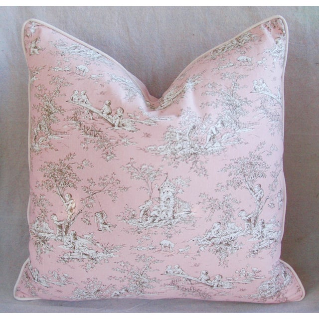 Designer French Pink Toile & Velvet Feather/Down Pillows - Pair - Image 10 of 11
