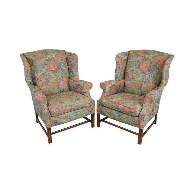 Southwood Chippendale Style Mahogany Frame Floral Upholstered Pair of Wing Chairs For Sale