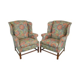 Image of Burgundy Wingback Chairs