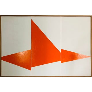 "Original Acrylic Painting ""Orange on Point Triptych Jet0597"" For Sale"