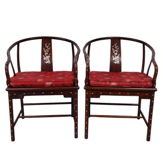 Early 20th Century Vintage Chinese Horseshoe Back Armchairs- A Pair For Sale