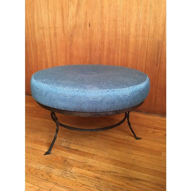 Plush Round Ottoman on Iron Base - Image 2 of 6