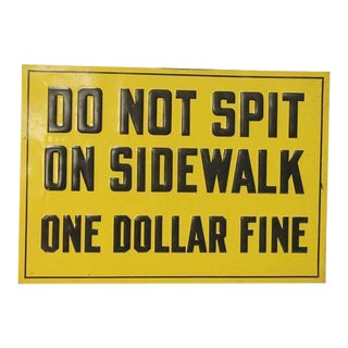 """1930s Embossed Metal """"One Dollar Fine"""" Sign"""