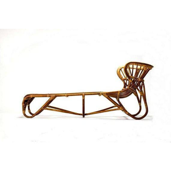 Mid Century Modern Franco Albini Chaise Lounge Sculpted Bamboo Daybed For Sale - Image 11 of 12