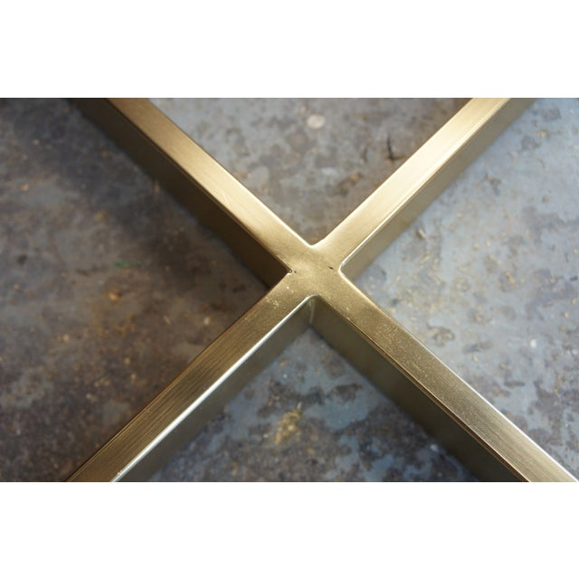 Metal Contemporary West Elm Cross-Base Square Coffee Table For Sale - Image 7 of 11