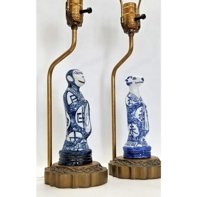 1960s Pair of Vintage Chinese Zodiac Porcelain Figurine Lamps - Asian Chinoiserie Palm Beach Boho Chic Mid Century Bedside For Sale - Image 5 of 13