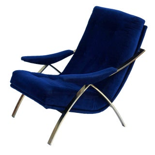 Lounge Chair in Brass and Blue Velvet