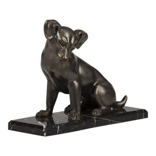 French Art Deco Period Cast Metal Dog on Marble Base, circa 1930 For Sale