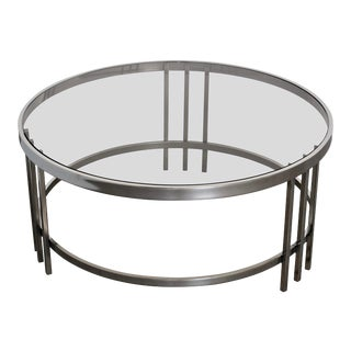 DIA Design Institute of America Polished Steel Chrome Round Cocktail Table For Sale