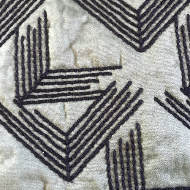 Traditional Miles Redd for Schumacher V Step in Loden Fabric- 2 Yards For Sale - Image 3 of 6